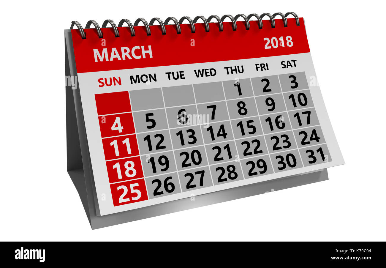 3d illustration of march 2018 calendar isolated over white background