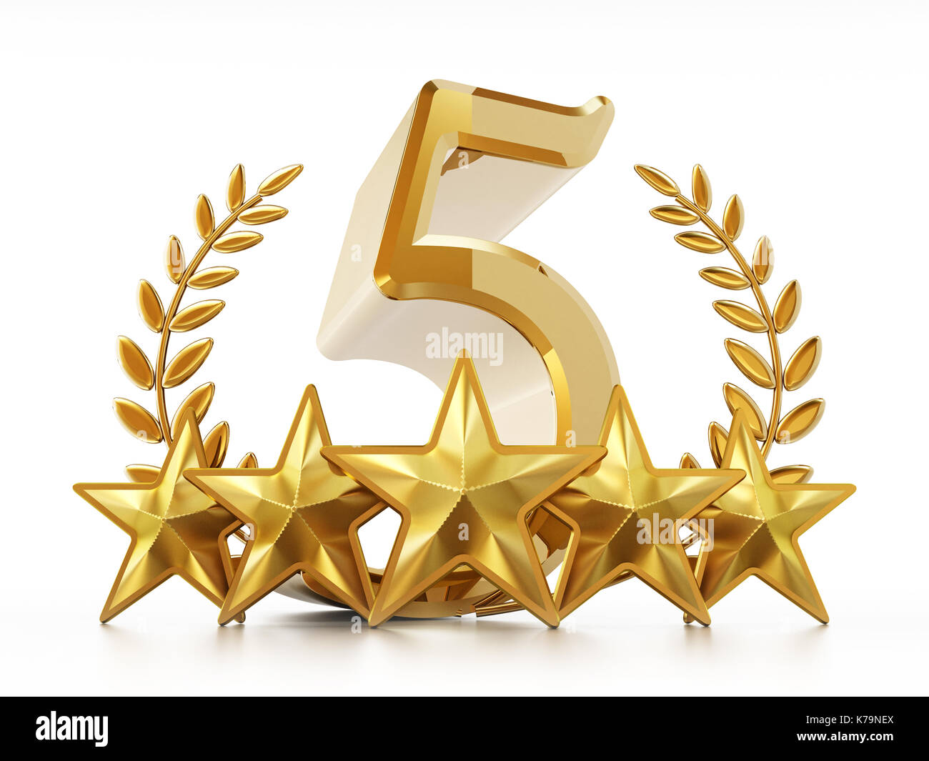 Number 5 Stars And Laurels Isolated On White Background 3d Stock