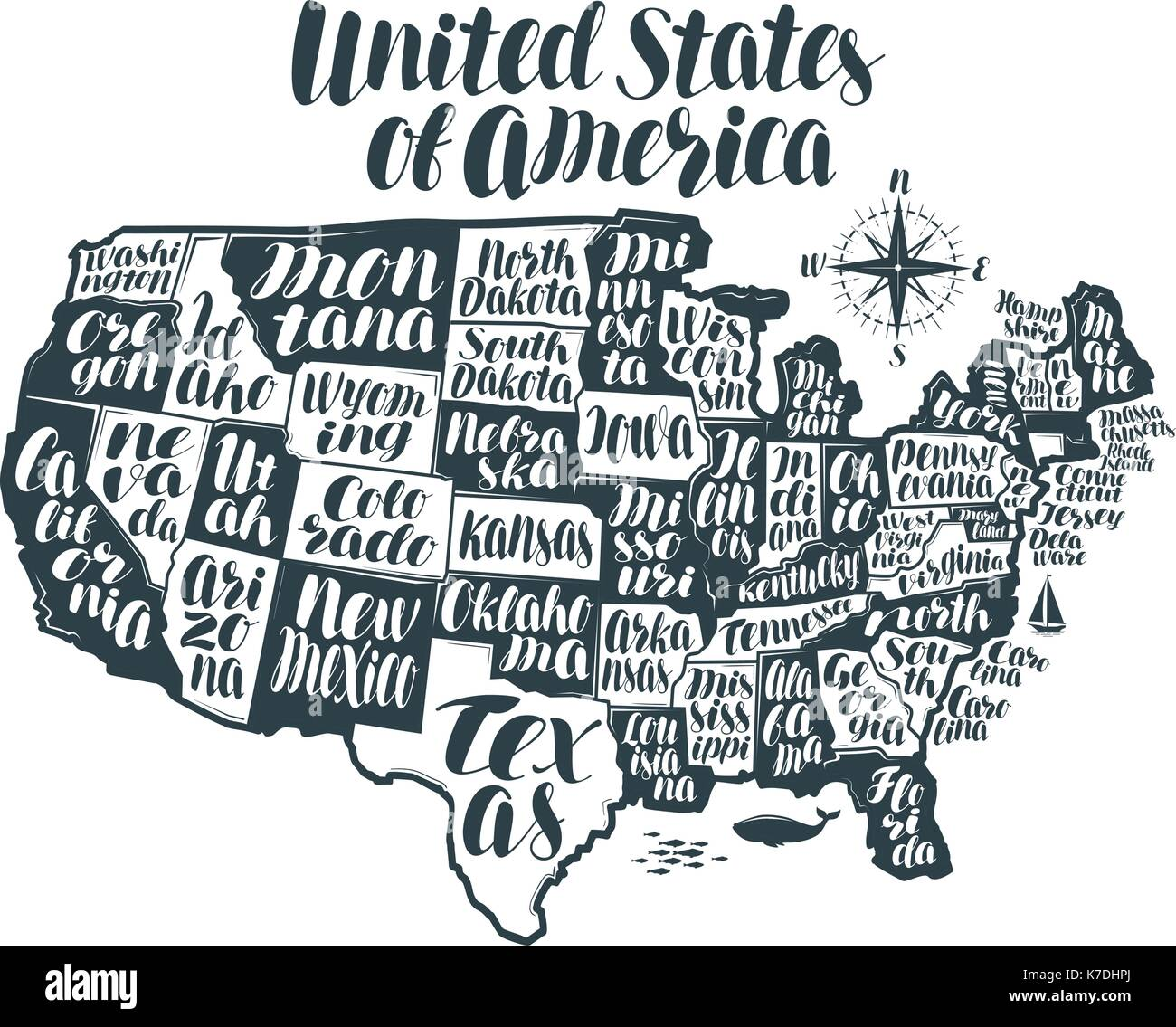 USA Map Country United States Of America Lettering Typographic - South dakota in us map