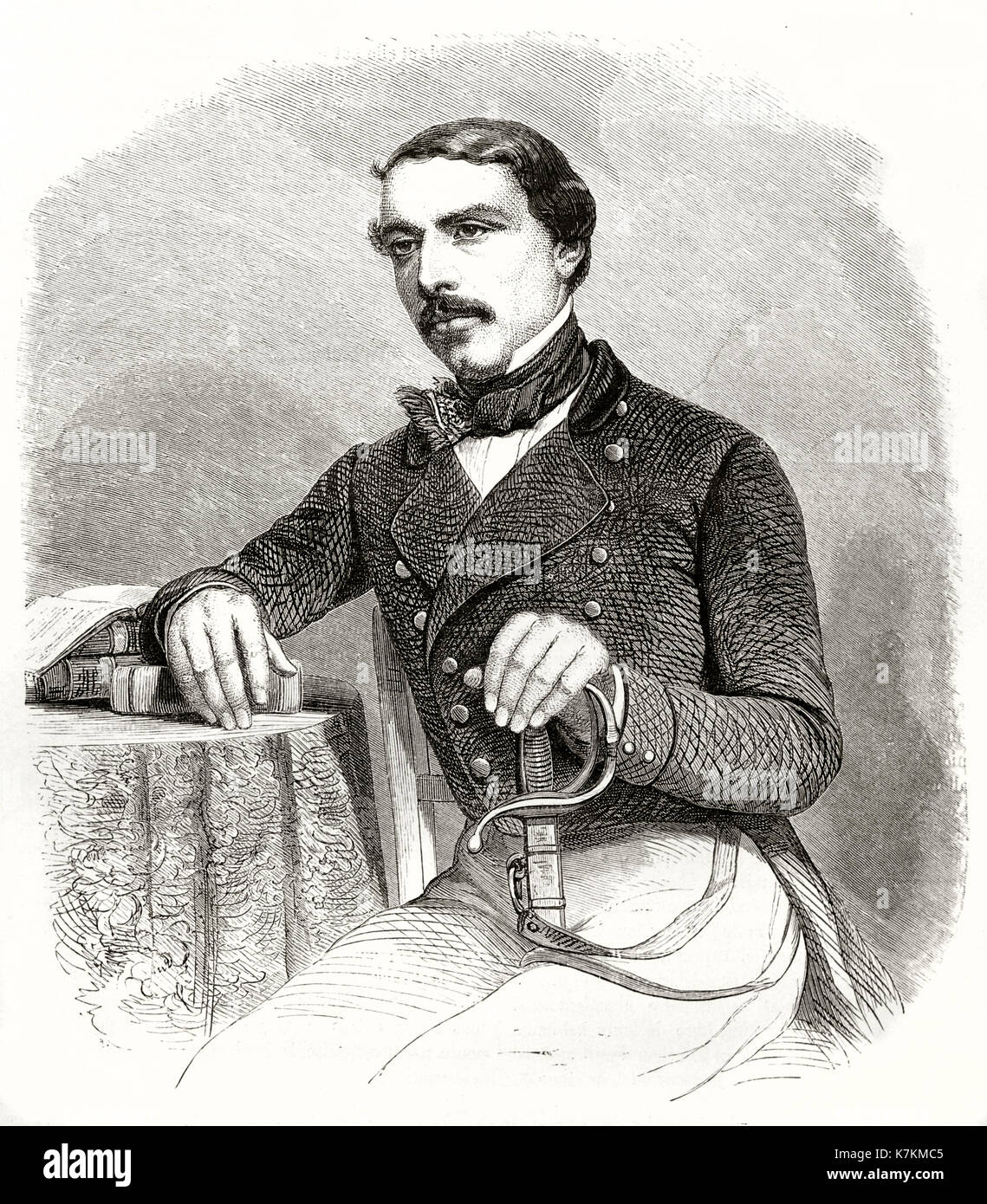 Old engraved portrait of Henri Lambert, French diplomat. By Hadamard and  Verdeil, publ. on Le Tour du Monde, Paris, 1862