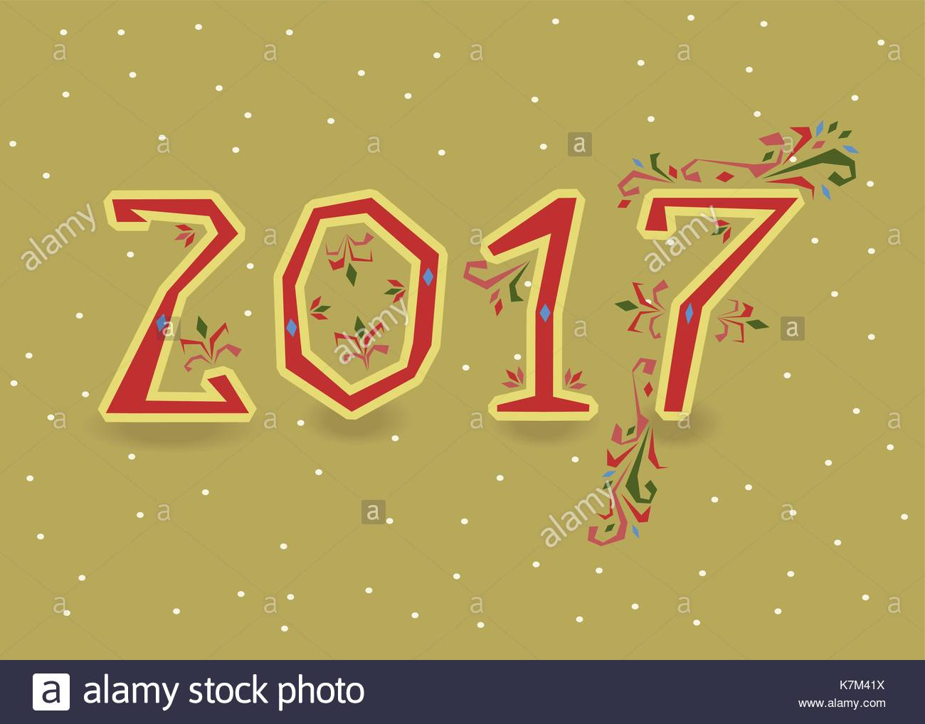 Happy New Year 2017 Calendar Template Red Hand Drawn Symbols With