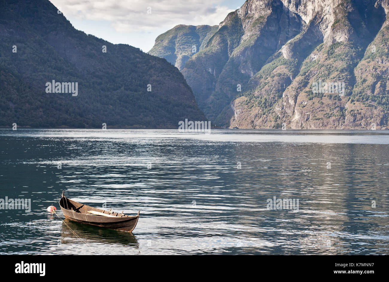 Car ferries sognefjord norway - Aurland Sognefjord Norway Little Wooden Boat Stock Image