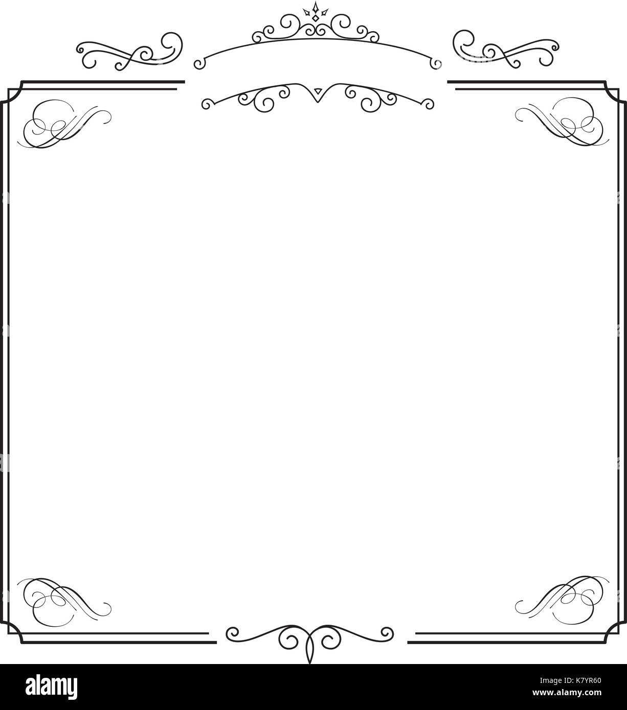 square ornamental retro elegant black border and white album background