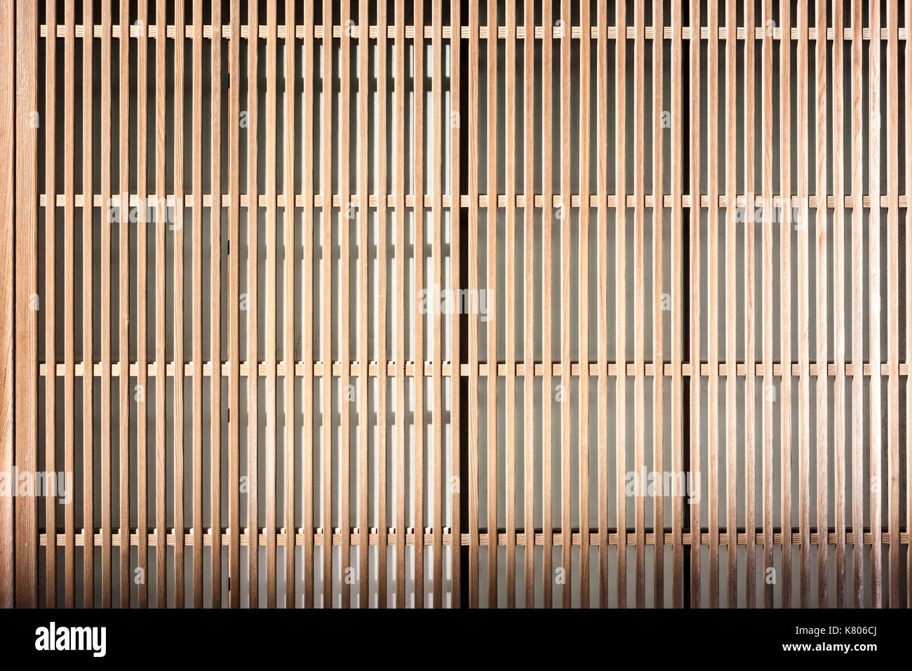 Japan, Kanazawa. Shoji wooden frame screen over window. Close up ...