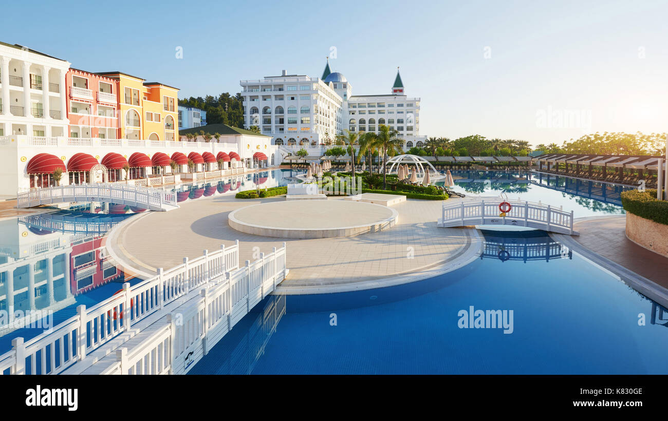 Swimming Pool And Beach Of Luxury Hotel And Outdoor Pools And A Spa
