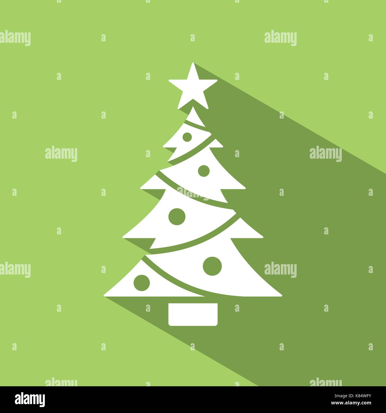 Christmas tree icon with star and shade. Color vector illustration ...