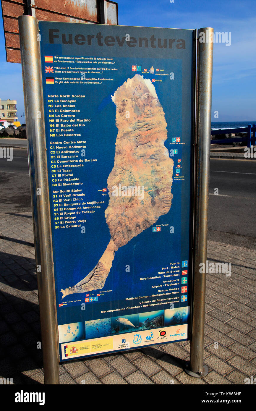 Map of island showing diving sites Corrajelo Fuerteventura Canary