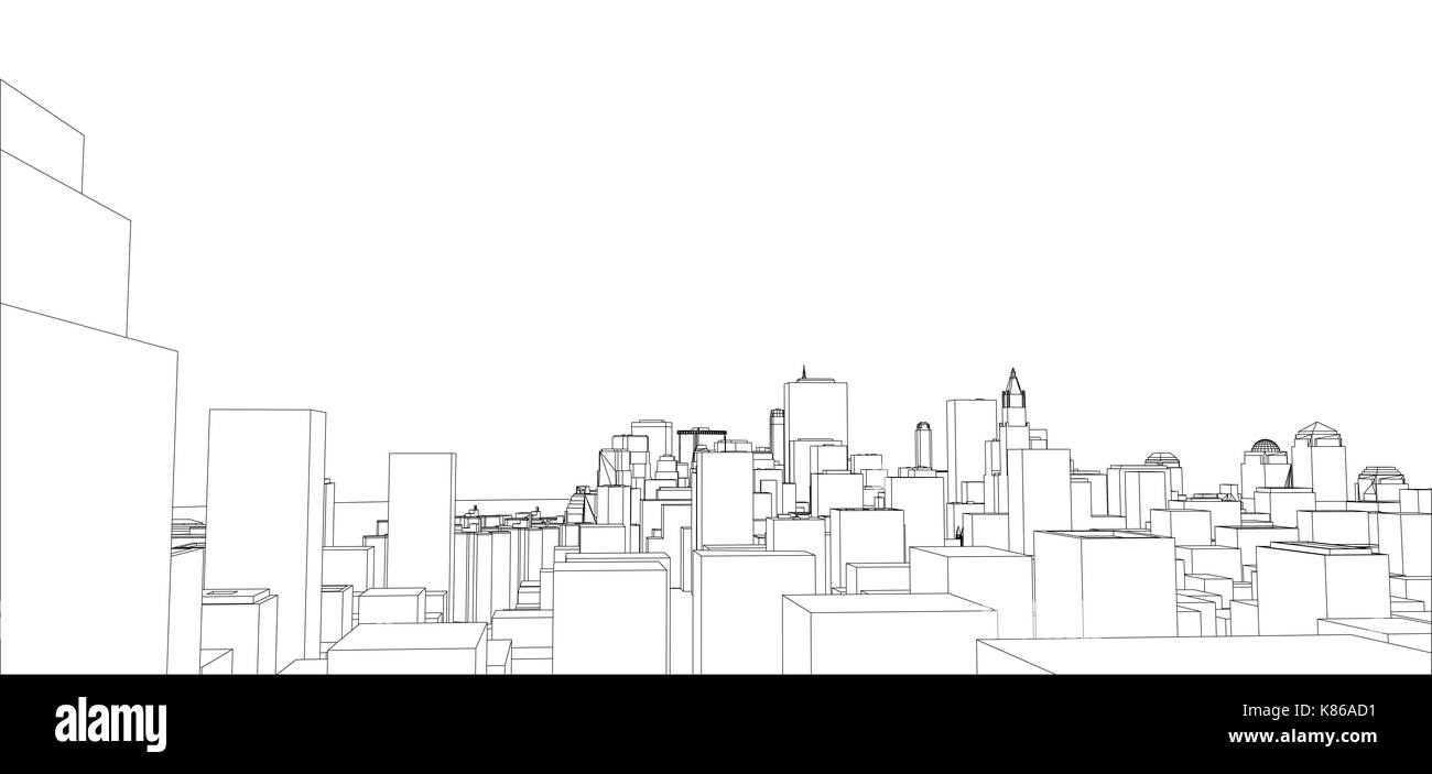 Wire-frame New York City, Blueprint Style Stock Vector Art ...