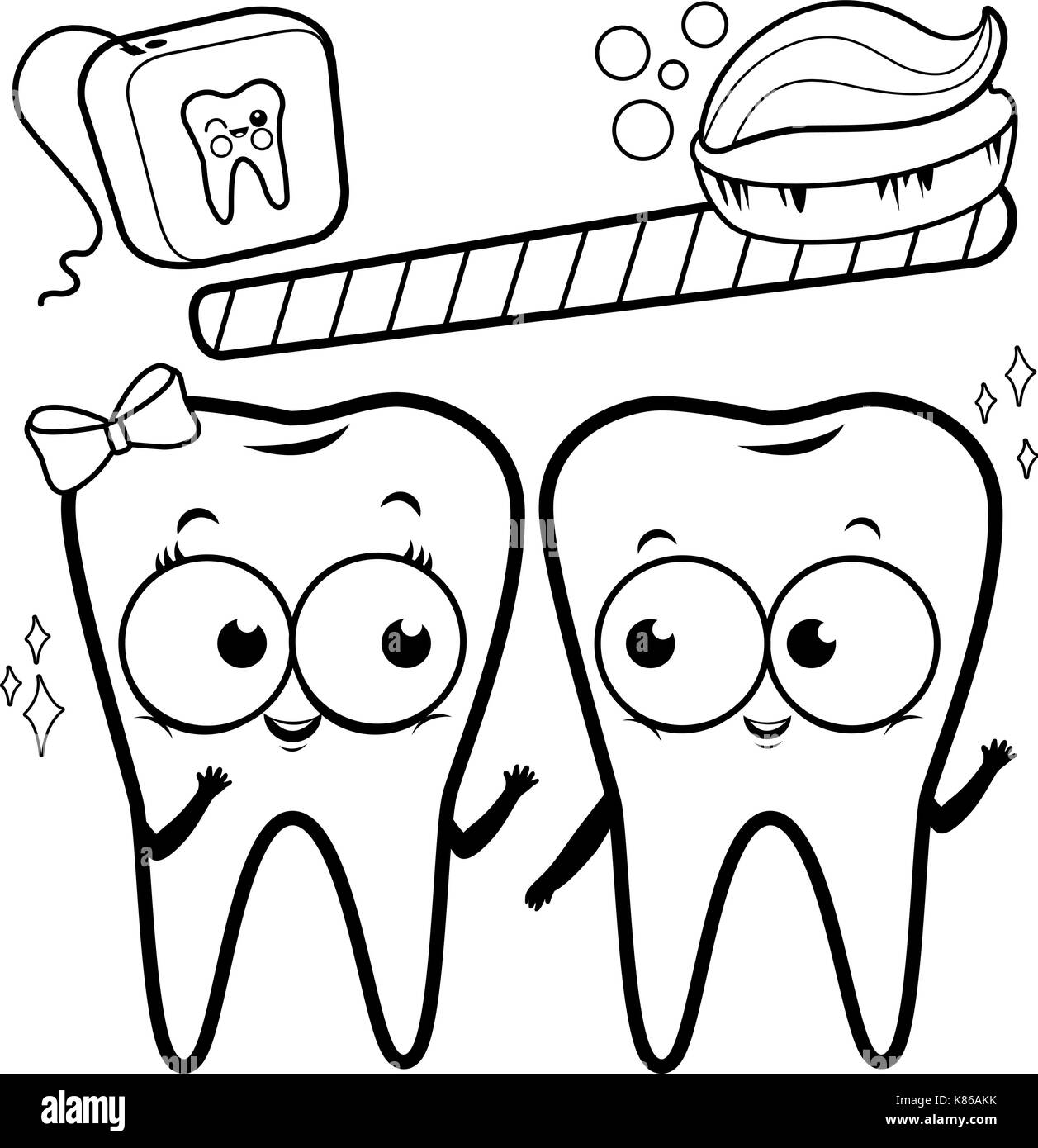 Cartoon teeth with toothbrush and dental floss. Black and white ...
