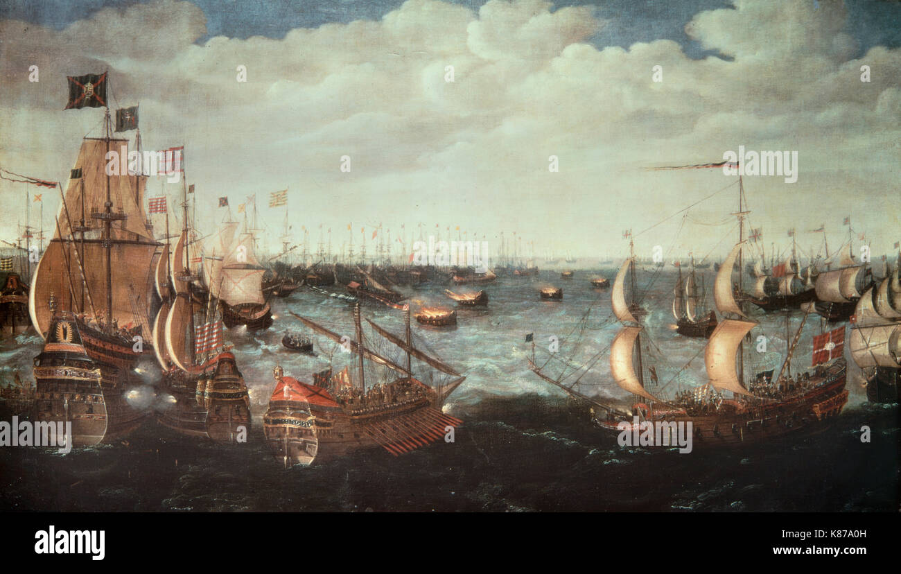 the battle of the spanish armada As a sailor, drake's successful battles against the spanish helped england  a  huge fleet, or armada of 130 ships was to sail up the english channel to the.