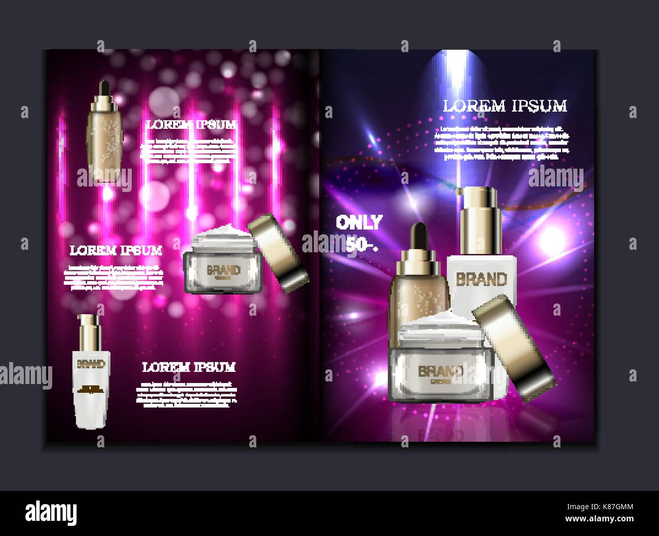 Design Cosmetics Product Brochure Template For Ads Or Magazine - Product brochure template