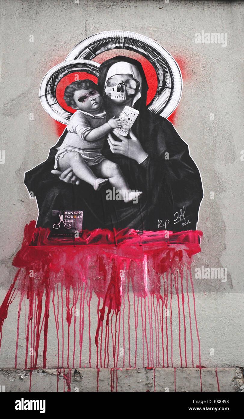 Graffitti Nun And Jesus Blood Stock Photo 159995055 Alamy