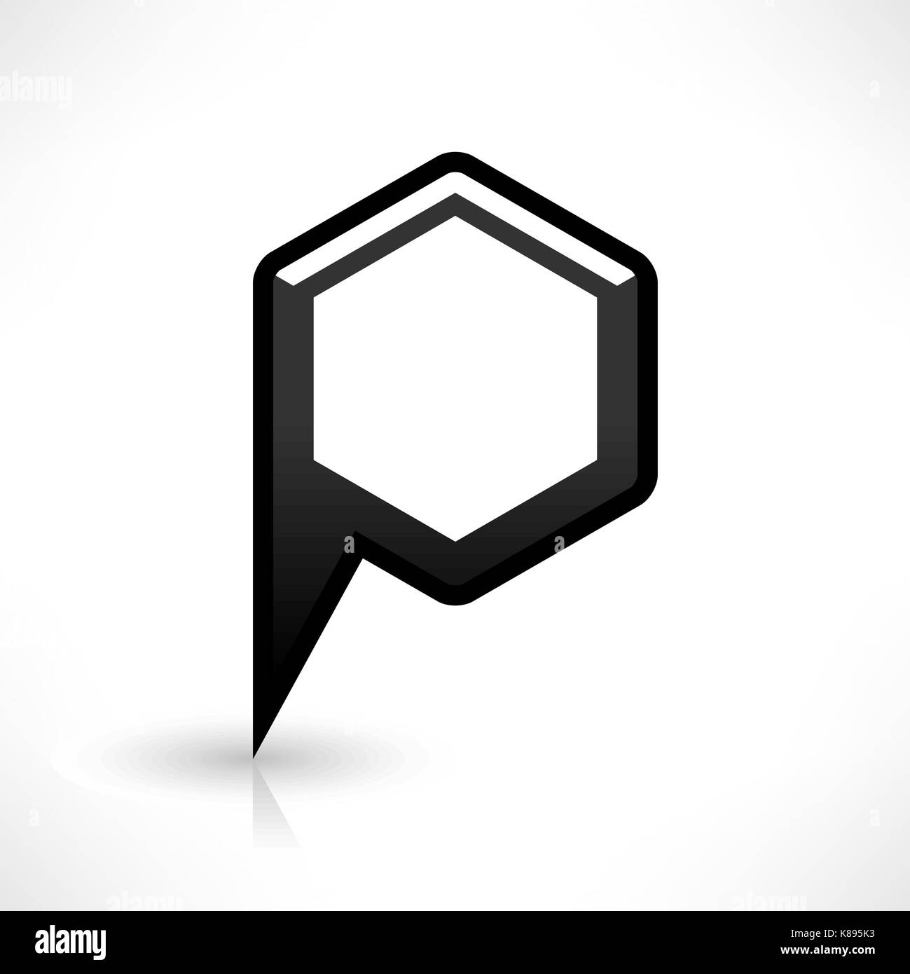 Blank map pin location sign rounded hexagon icon in flat style blank map pin location sign rounded hexagon icon in flat style empty black shapes with gray oval shadow and reflection on white background buycottarizona Gallery