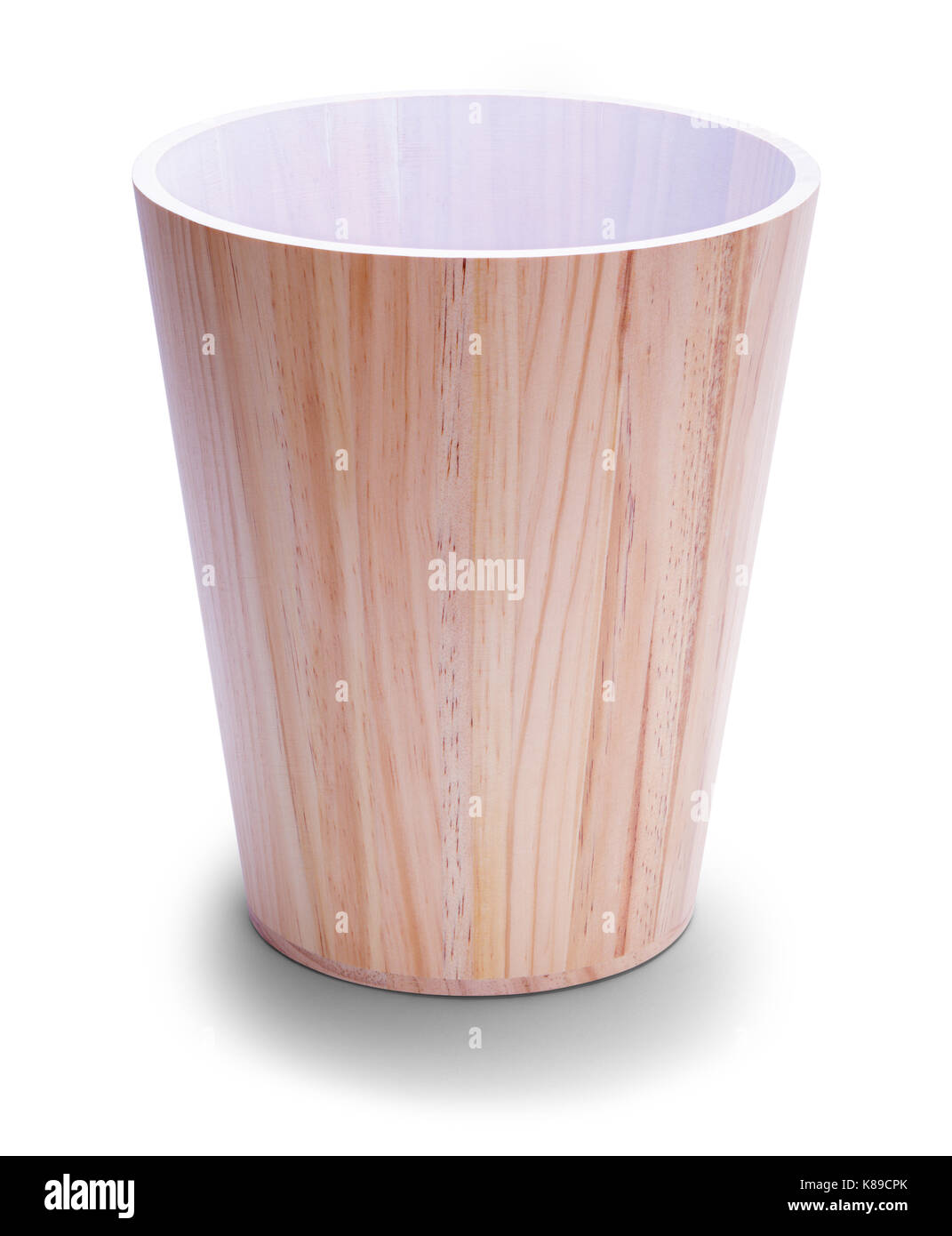 Empty Wood Office Trash Can Isolated On White Background.