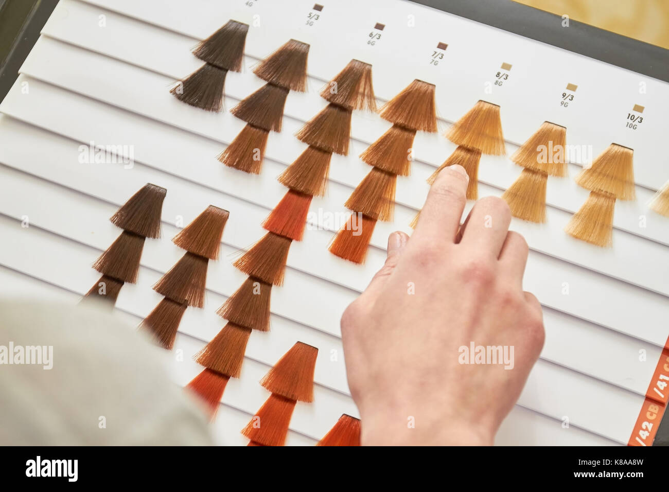 Color chart for hair dye. Hair color palette with a wide range.