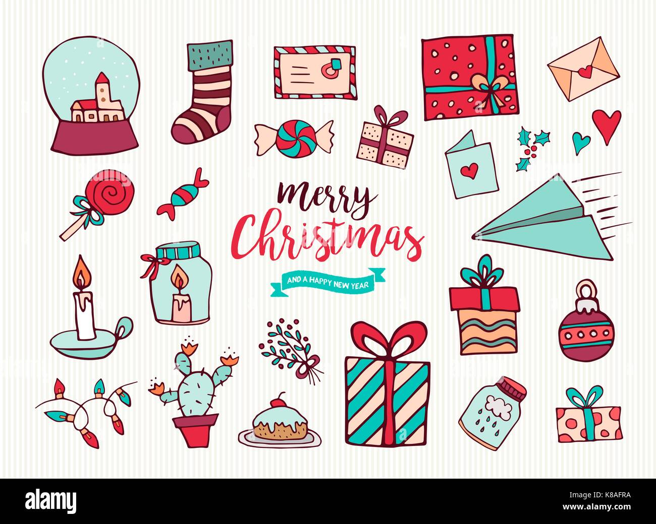 Merry Christmas Happy New Year cartoon element collection. Set of ...