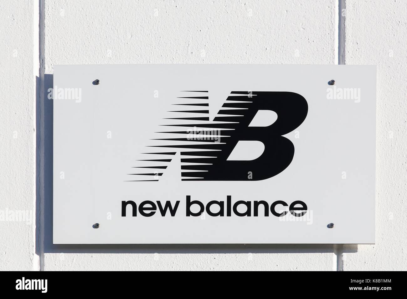New balance shoes stock photos new balance shoes stock images merignac france june 5 2017 new balance logo on a wall biocorpaavc Choice Image