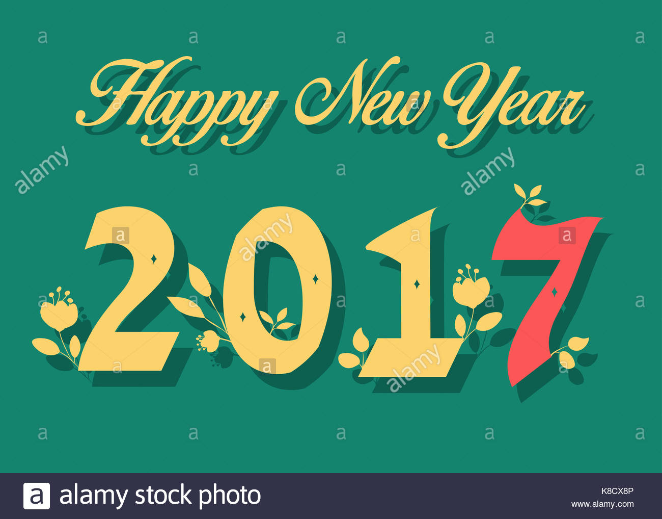 Happy New Year 2017 Calendar Template Yellow And Red Hand Drawn