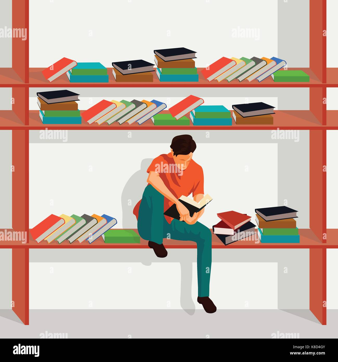 Man Reading Book And Sitting On Bookshelf In Library I Love Illustration