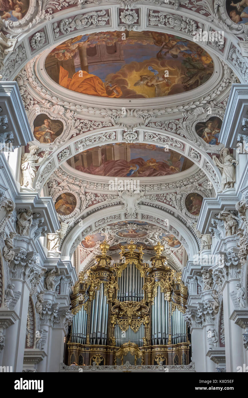 Baroque ceiling cathedral stock photos baroque ceiling cathedral germany lower bavaria passau stephens cathedral interior ceiling doublecrazyfo Gallery