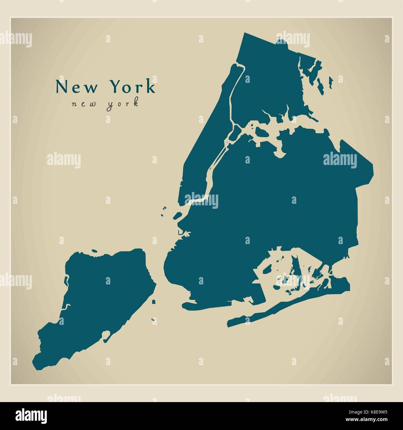 Modern City Map New York city of the USA Stock Vector Art