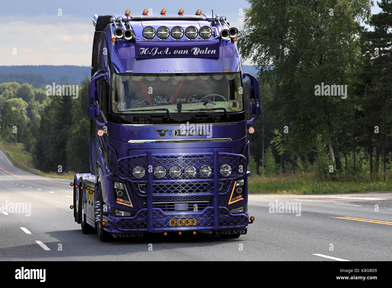 New Volvo Fh 2018 >> IKAALINEN, FINLAND - AUGUST 10, 2017: Beautifully ...