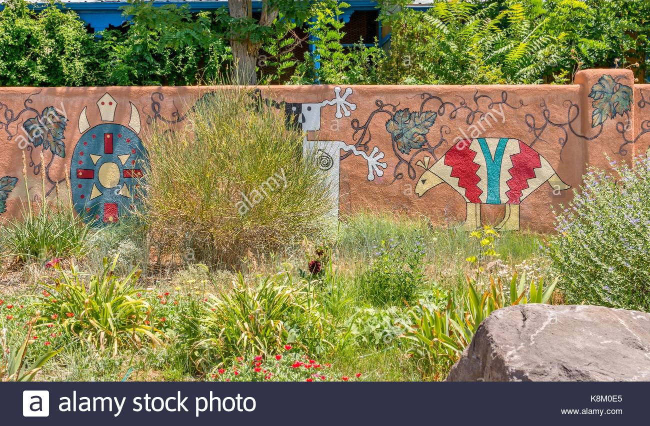 Native american design motif stock photos native american design garden wall painted in native american motif designs stock image amipublicfo Choice Image