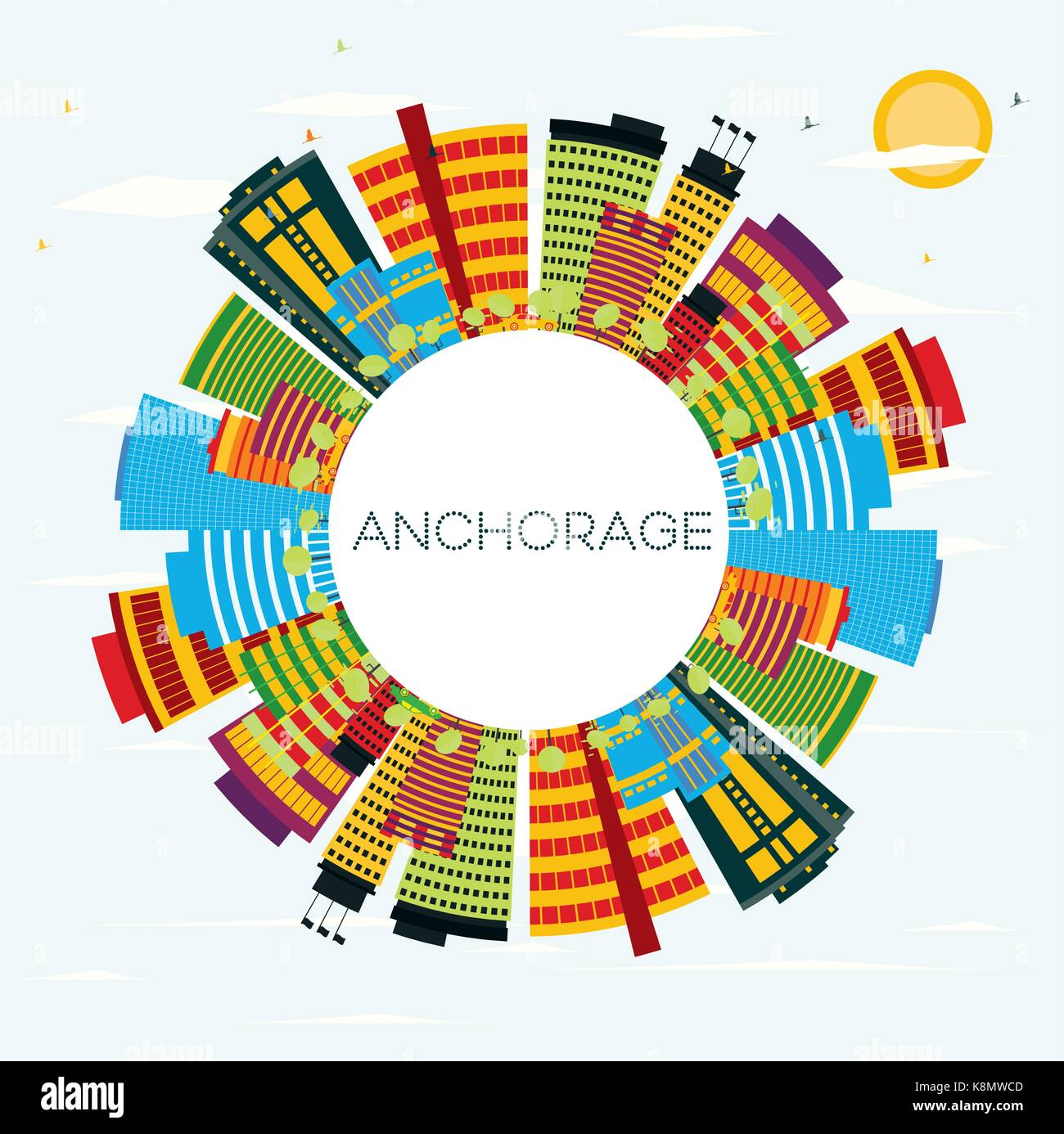 Color art anchorage - Anchorage Skyline With Color Buildings Blue Sky And Copy Space Business Travel And Tourism Concept Image For Presentation Banner Placard And Web Si