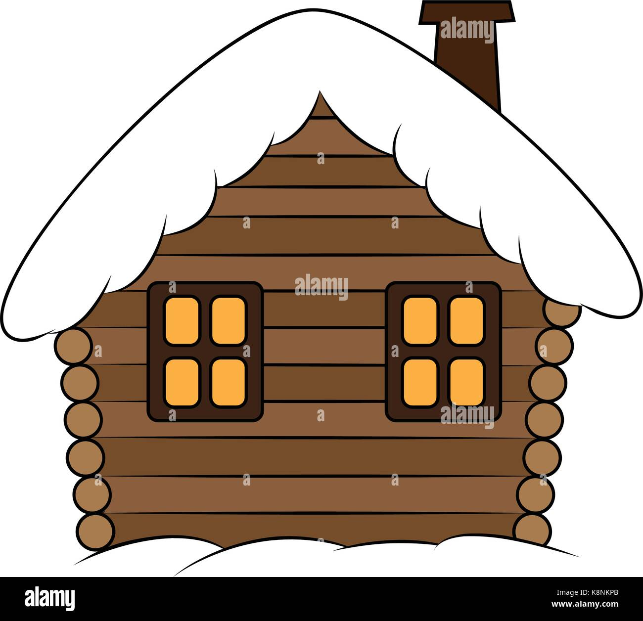 House With Snow Cartoon Illustration Winter Snowy Christmas Home Cottage Isolated On White Background