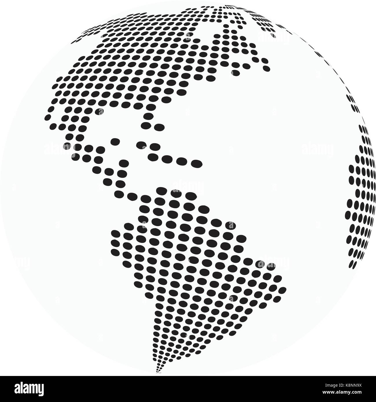 globe earth world map - abstract dotted vector background. Black and ...