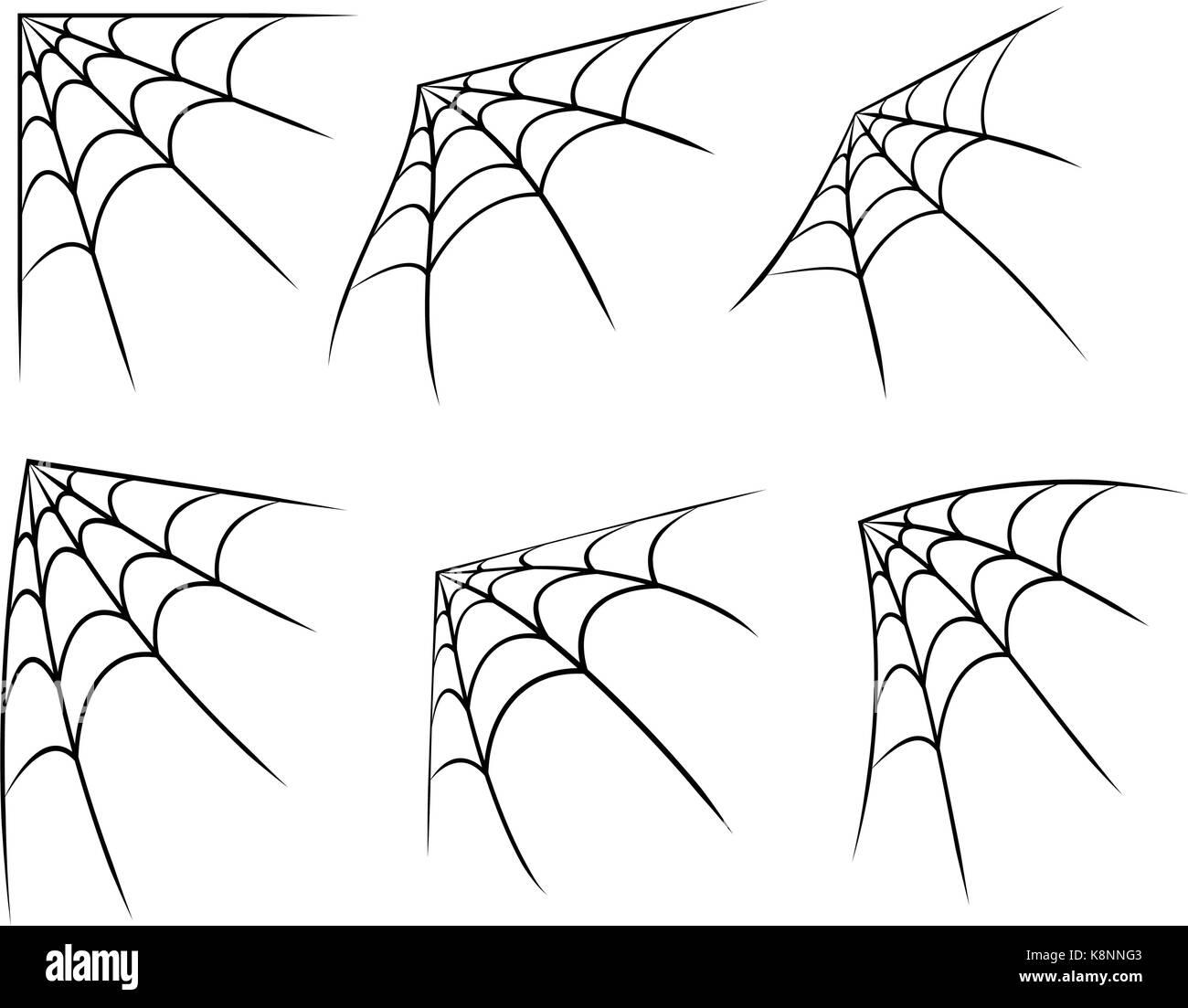 halloween corner spider web, cobweb symbol, icon set. vector stock