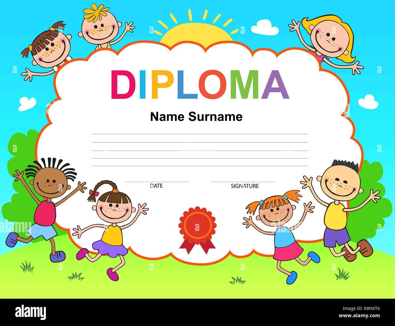 Kids diploma certificate background design template stock vector kids diploma certificate background design template xflitez Images