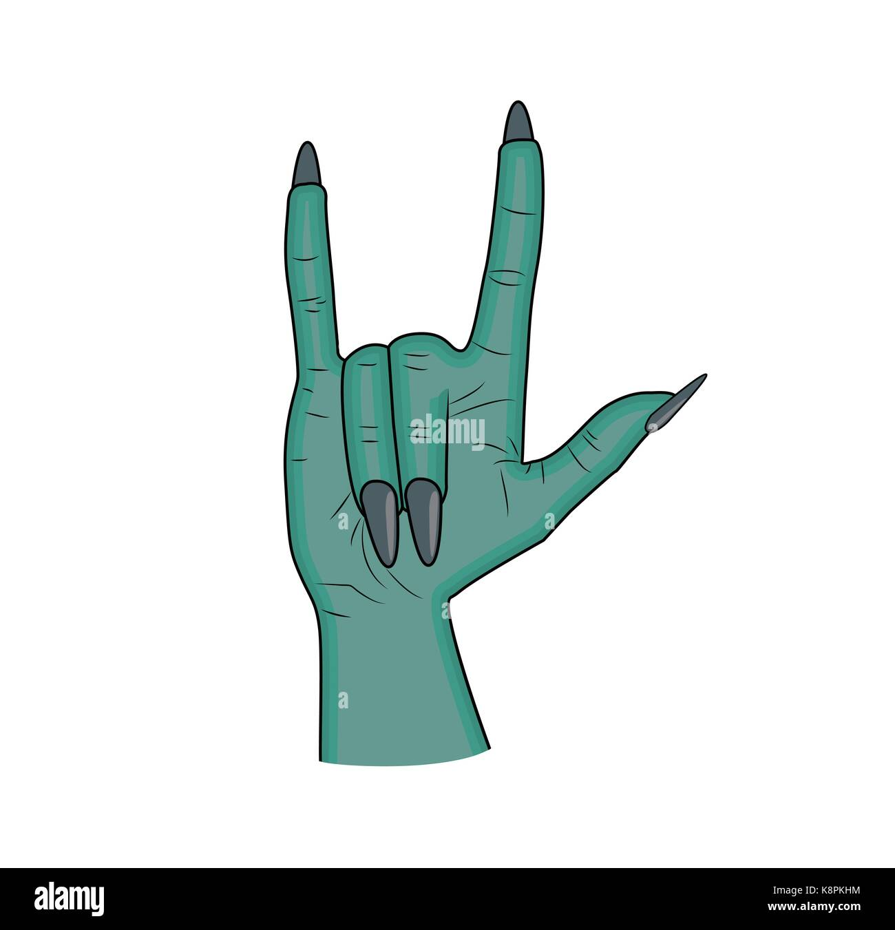 Zombie hand horns satan sign finger up gesture halloween vector zombie hand horns satan sign finger up gesture halloween vector realistic cartoon illustration isolated on white background image of scary monster biocorpaavc Gallery