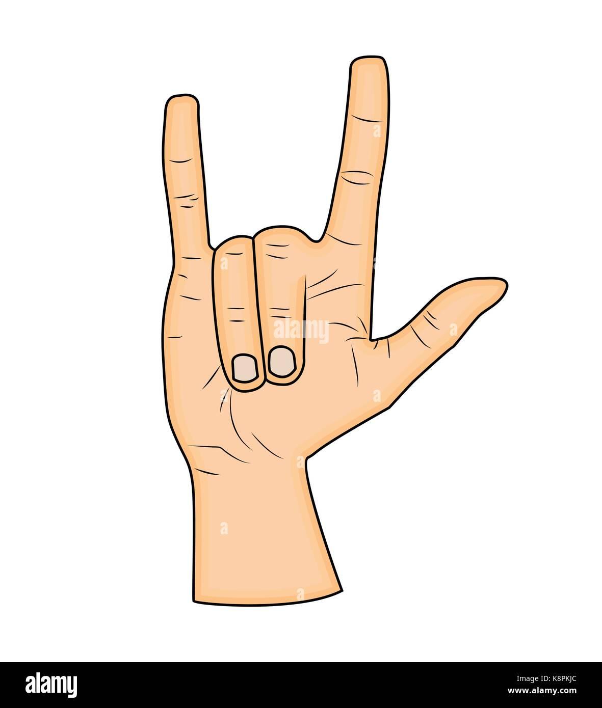 Horns hand satan sign finger up gesture vector isolated on white horns hand satan sign finger up gesture vector isolated on white background realistic cartoon illustration biocorpaavc Gallery