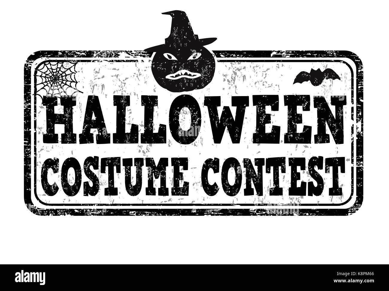 Halloween costume contest grunge rubber stamp on white background ...