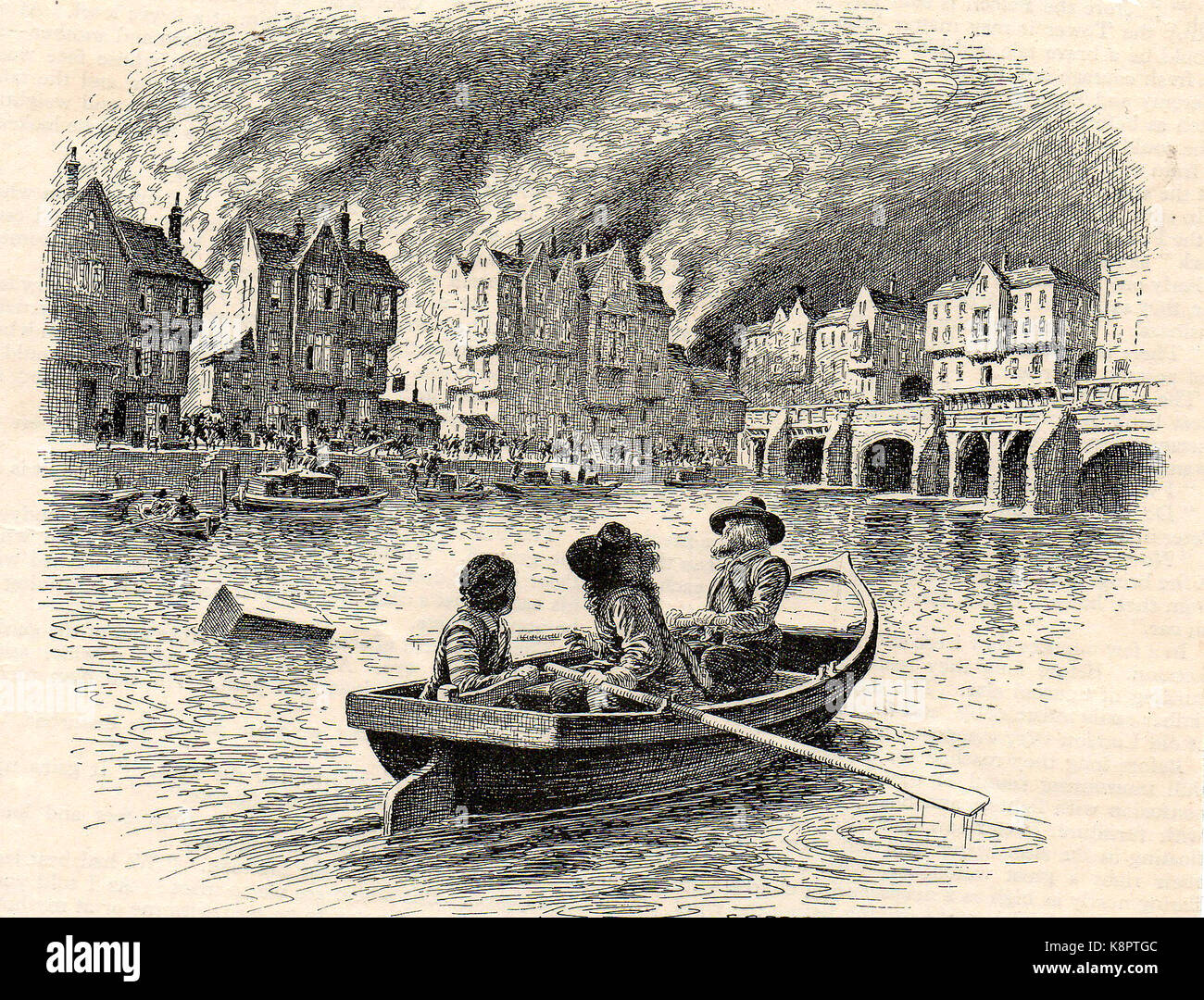 A 1930's illustration of the Great Fire of London (1666) from the river  Thames