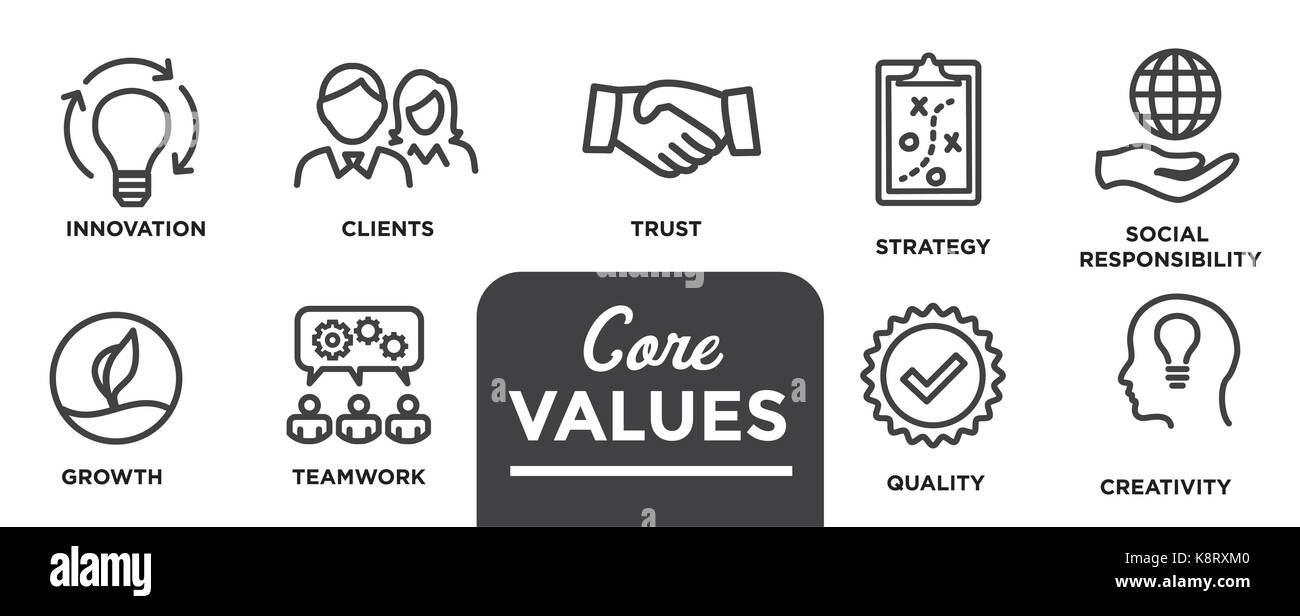 Core values mission integrity value icon set with vision core values mission integrity value icon set with vision honesty passion and collaboration as the goal focus biocorpaavc Image collections