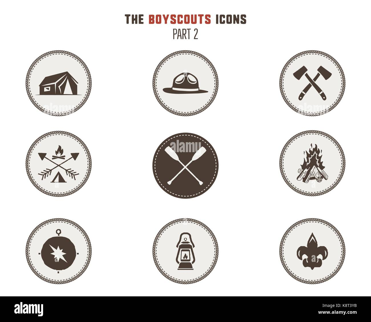 Camping stickers tent axe campfire compass and others stock vector illustration isolated on white background part 2