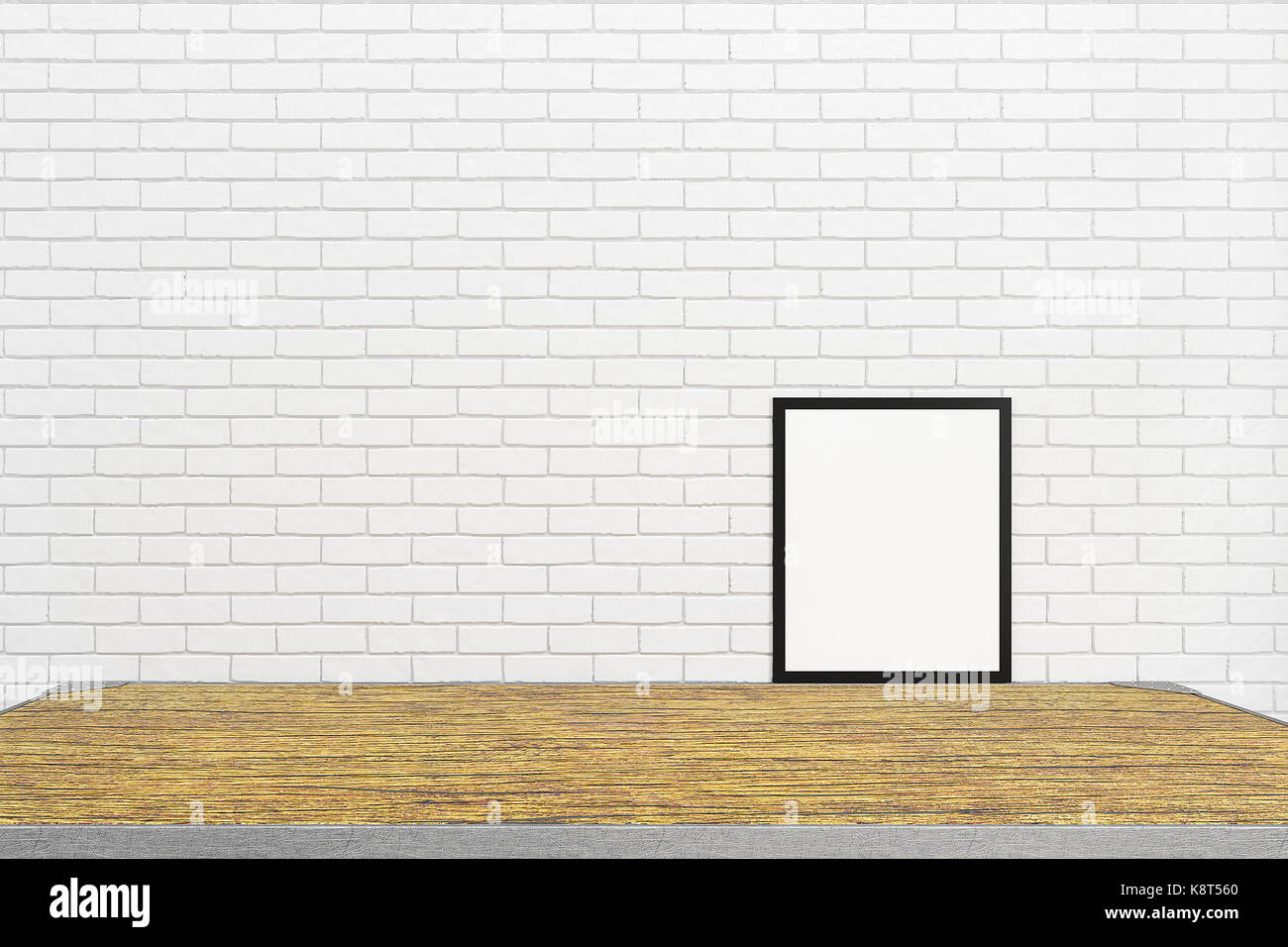 Plain wood table with hipster brick wall background stock photo - Blank White Brick Wall Interior With Blank Wood Table And Frame From For Mockup Design