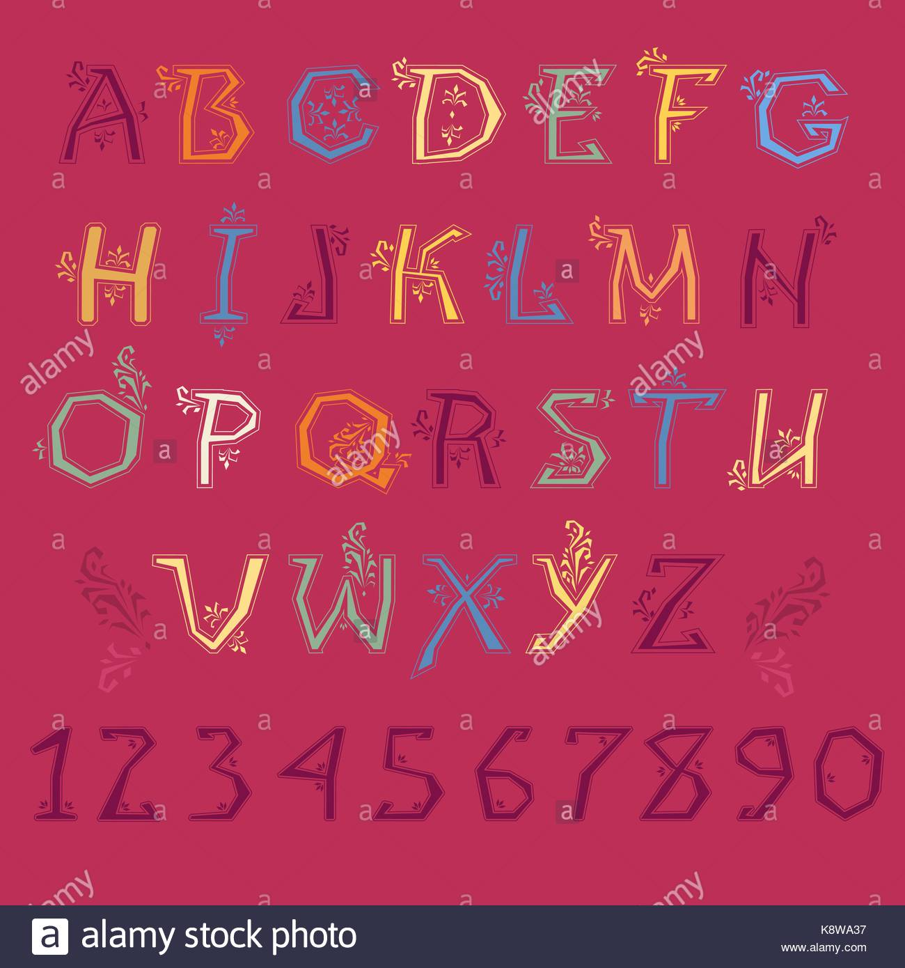 Festive Alphabet. Colorful letters and purple numbers with floral ...
