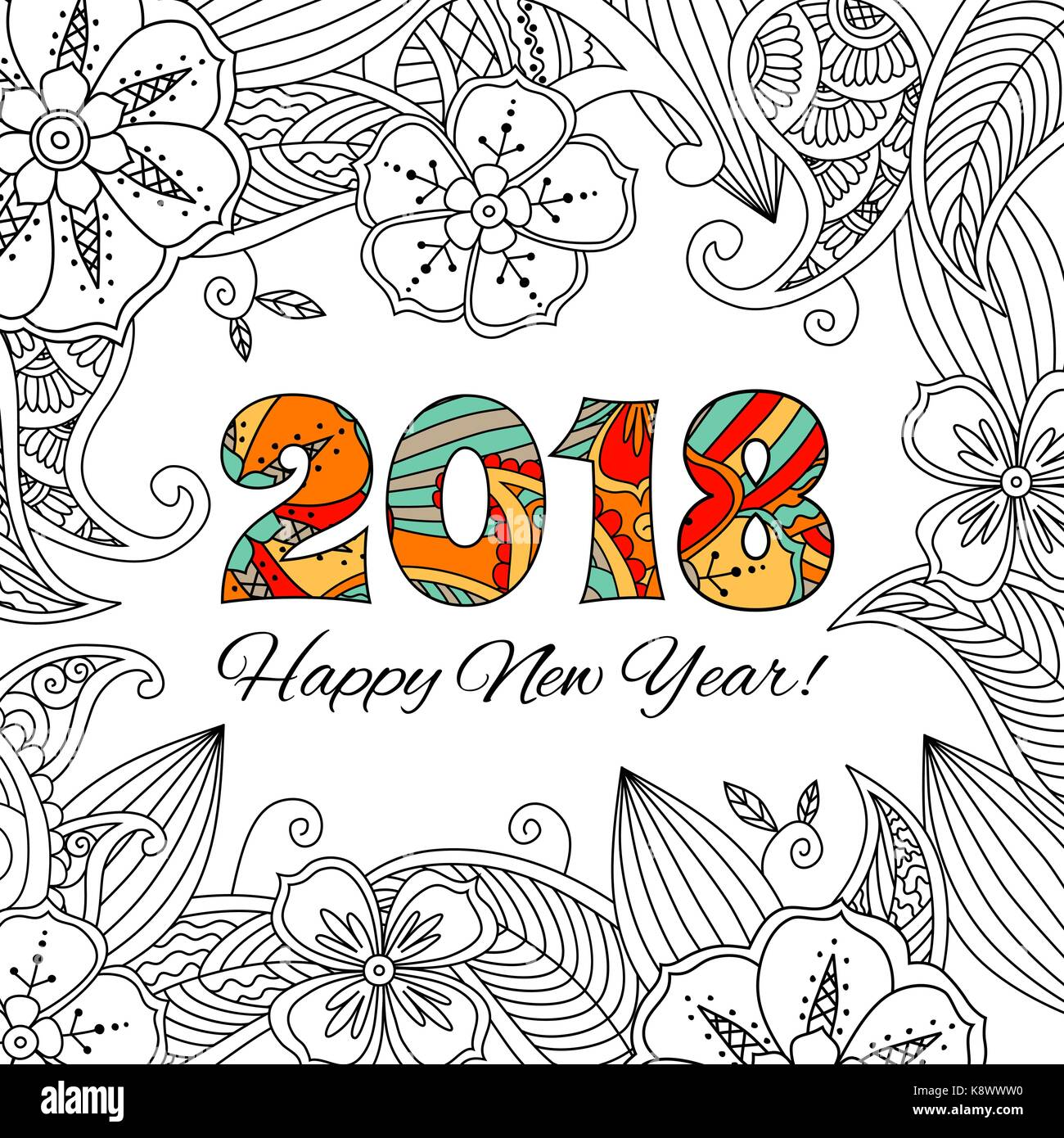 new year card with numbers 2018 on floral background