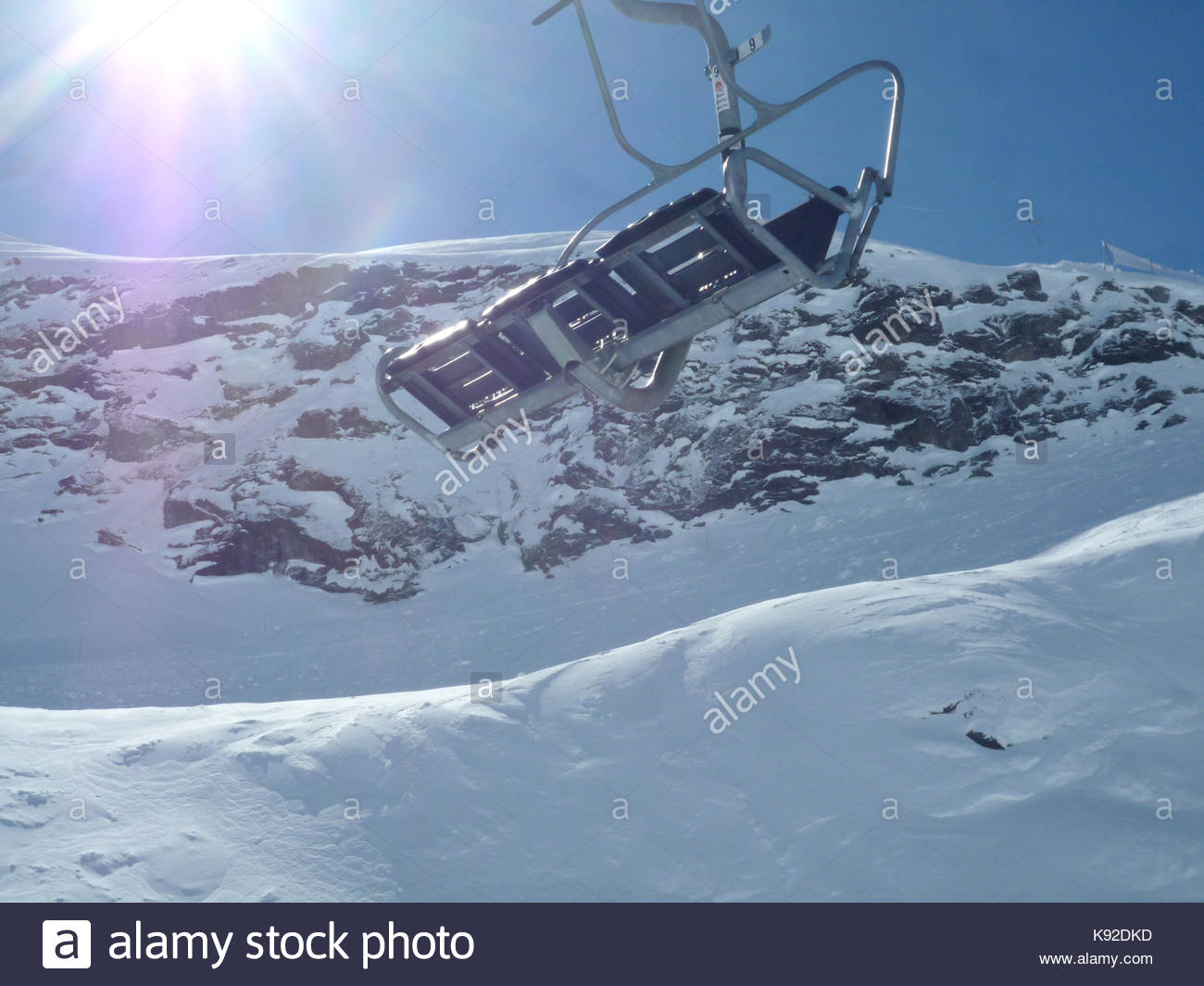 chairlift seat on italian alps la Thuile Stock Photo, Royalty Free ...