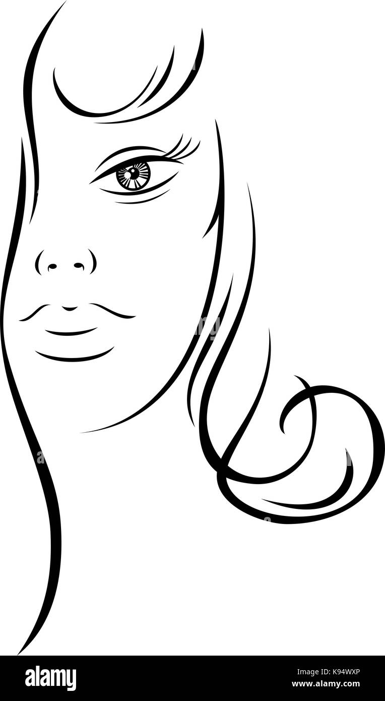 Line Drawing Lady Face : Lady face outline stock photos