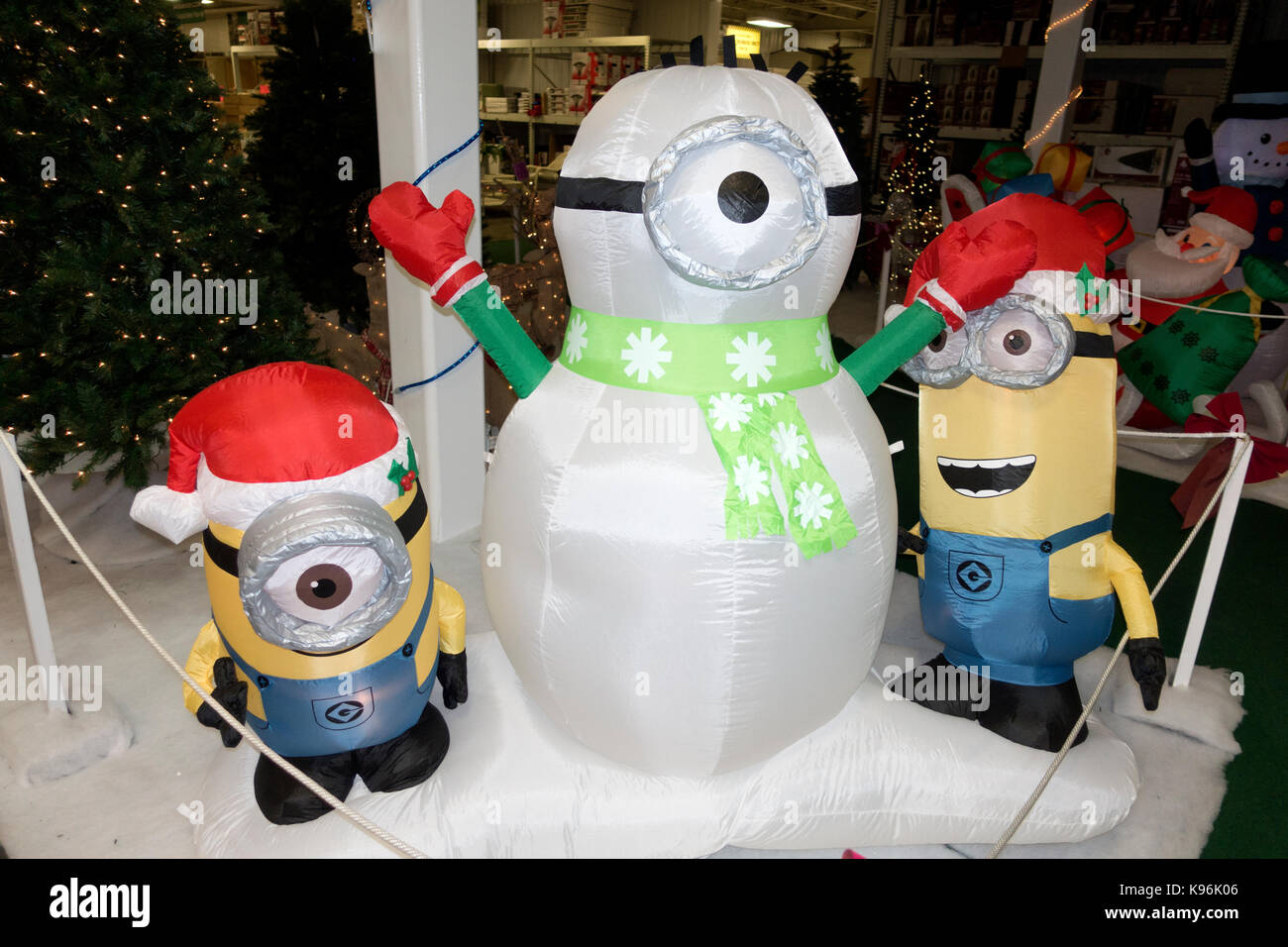 the minions celebrating christmas as a snowman and the elves inflatable yard decorations st paul minnesota mn usa