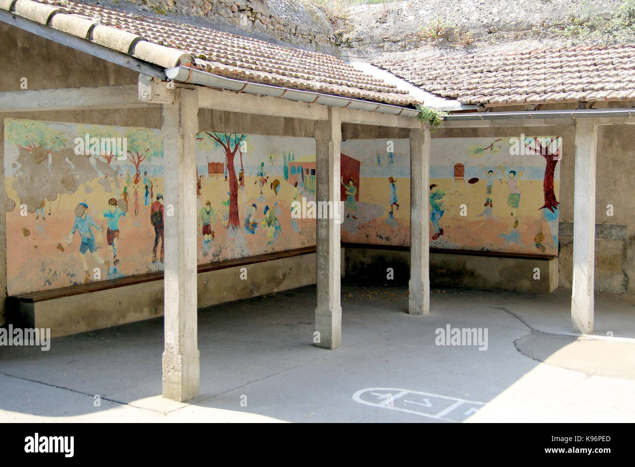 School playground wall mural stock photos school playground wall retro vintage styled mural or wall painting in a school yard or playground stock image amipublicfo Gallery