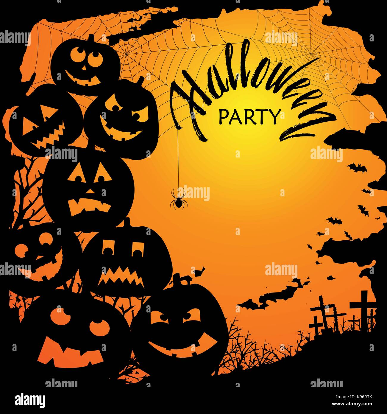 Halloween party invitation with scary pumpkins. Funny and evil Stock ...