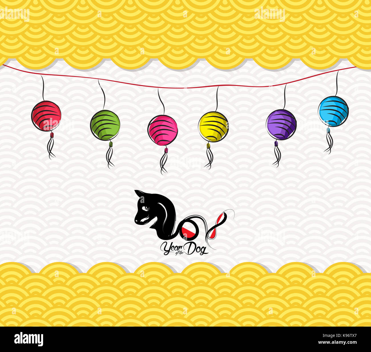 chinese new year 2018 lantern pattern background year of the dog