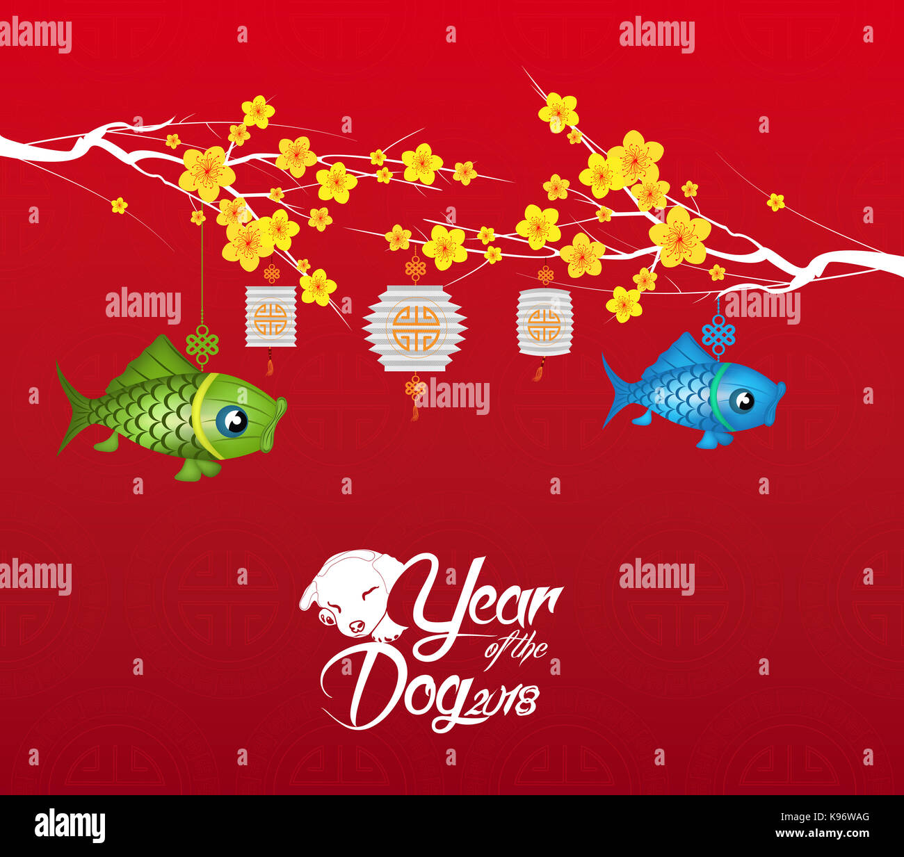 chinese new year 2018 blossom background year of the dog