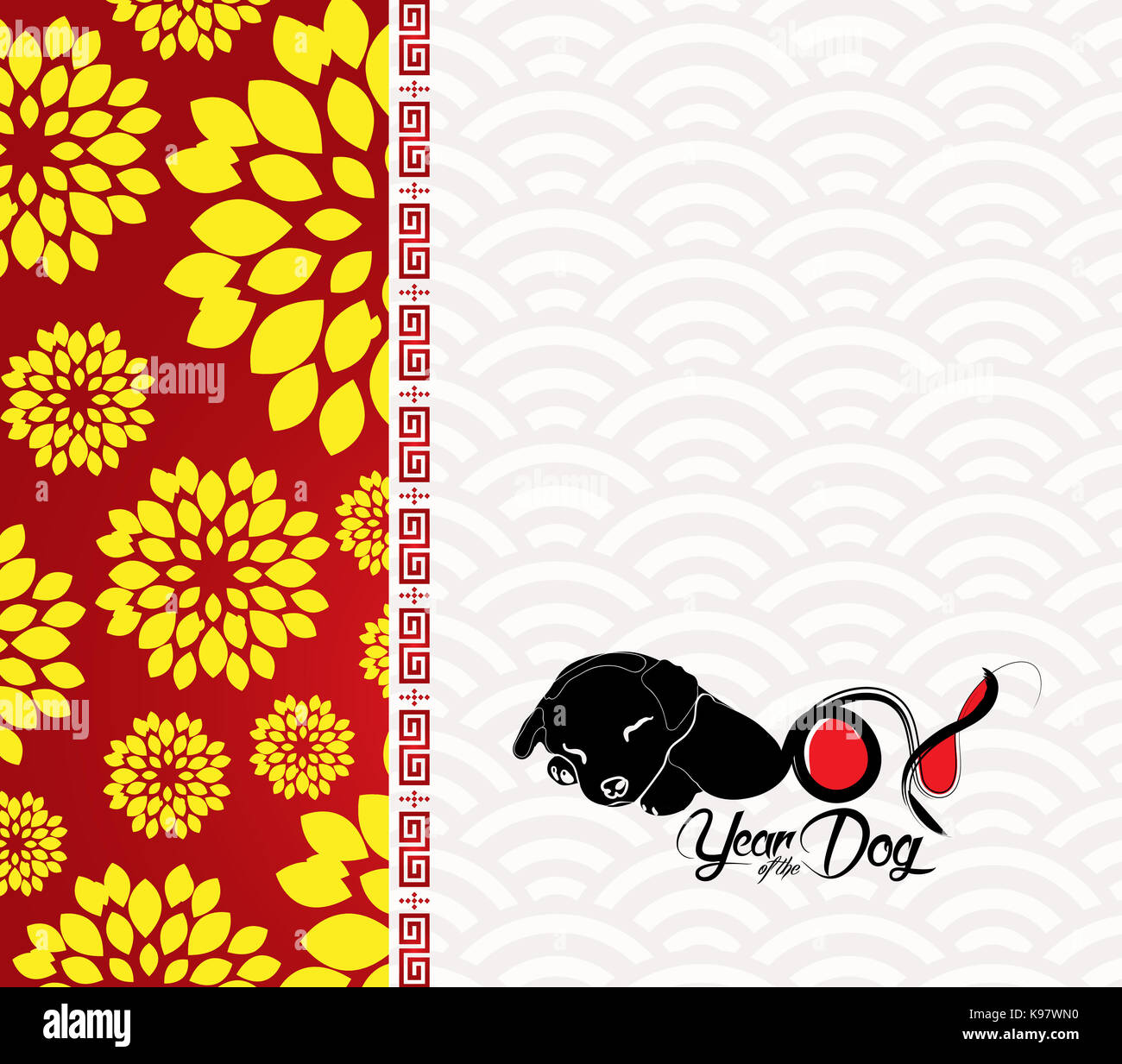 chinese new year 2018 plum blossom and dog background