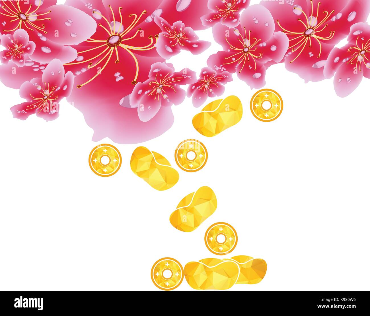 spring sale label design with sakura flowers cherry blossoms and gold chinese new year